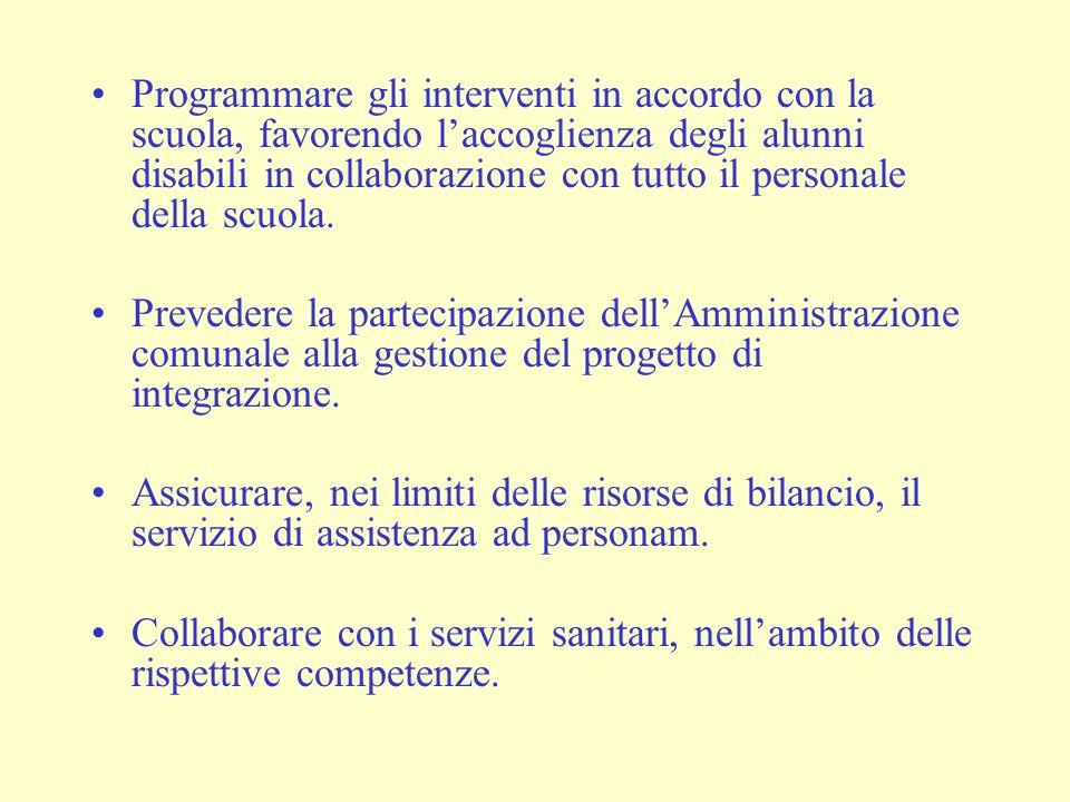 Programmare gli interventi in accordo con la scuola, favorendo laccoglienza degli alunni disabili in collaborazione con tutto il personale della scuola.