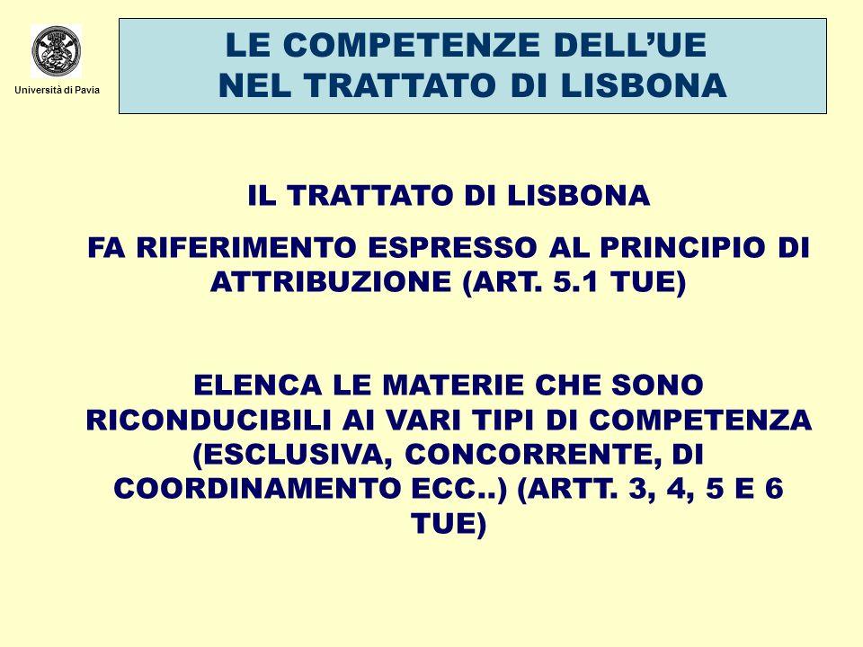 Università di Pavia LE COMPETENZE DELLUE NEL TRATTATO DI LISBONA IL TRATTATO DI LISBONA FA RIFERIMENTO ESPRESSO AL PRINCIPIO DI ATTRIBUZIONE (ART. 5.1