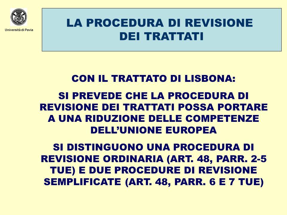 Università di Pavia LA PROCEDURA DI REVISIONE ORDINARIA PROPOSTA DI UNO STATO, DEL PE O DELLA COMMISSIONE AL CONSIGLIO TRASMISSIONE AL CONSIGLIO EUROPEO E NOTIFICAZIONE AI PARLAMENTI NAZIONALI.