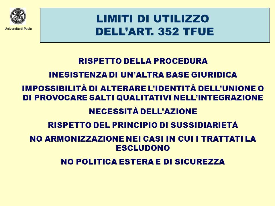 Università di Pavia LIMITI DI UTILIZZO DELLART. 352 TFUE RISPETTO DELLA PROCEDURA INESISTENZA DI UNALTRA BASE GIURIDICA IMPOSSIBILITÀ DI ALTERARE LIDE