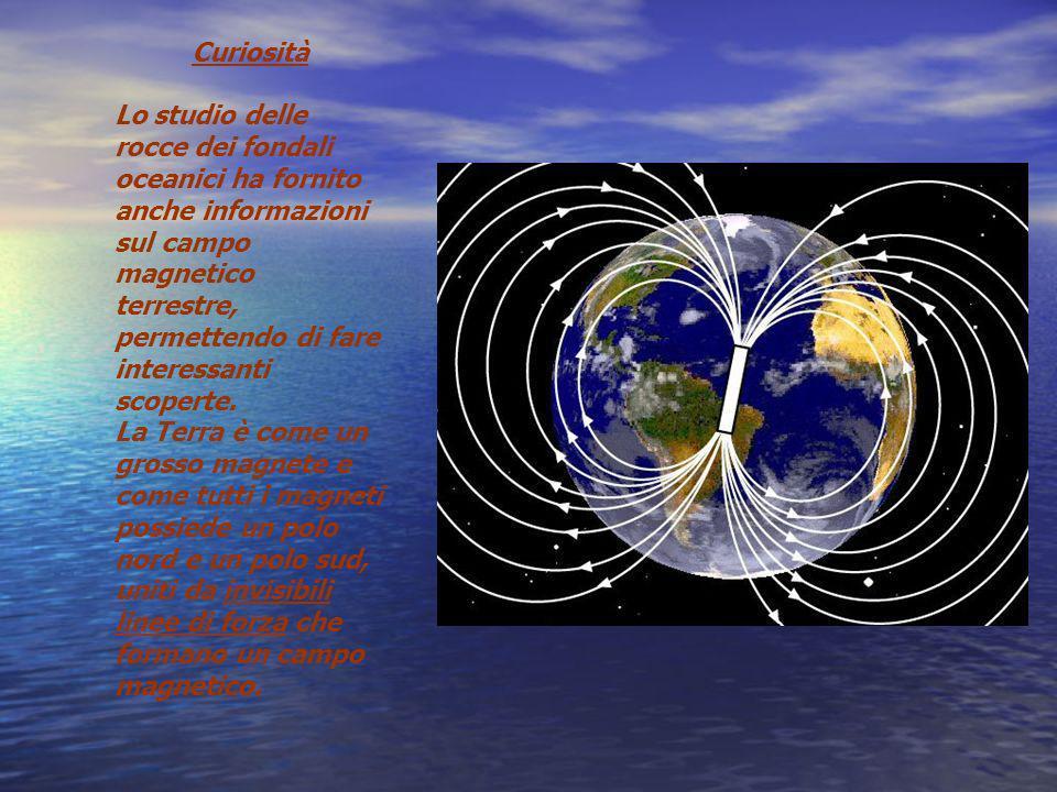 Curiosità Lo studio delle rocce dei fondali oceanici ha fornito anche informazioni sul campo magnetico terrestre, permettendo di fare interessanti sco