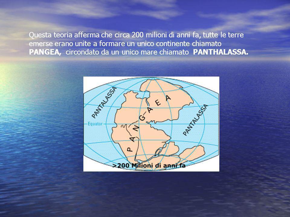 Questa teoria afferma che circa 200 milioni di anni fa, tutte le terre emerse erano unite a formare un unico continente chiamato PANGEA, circondato da