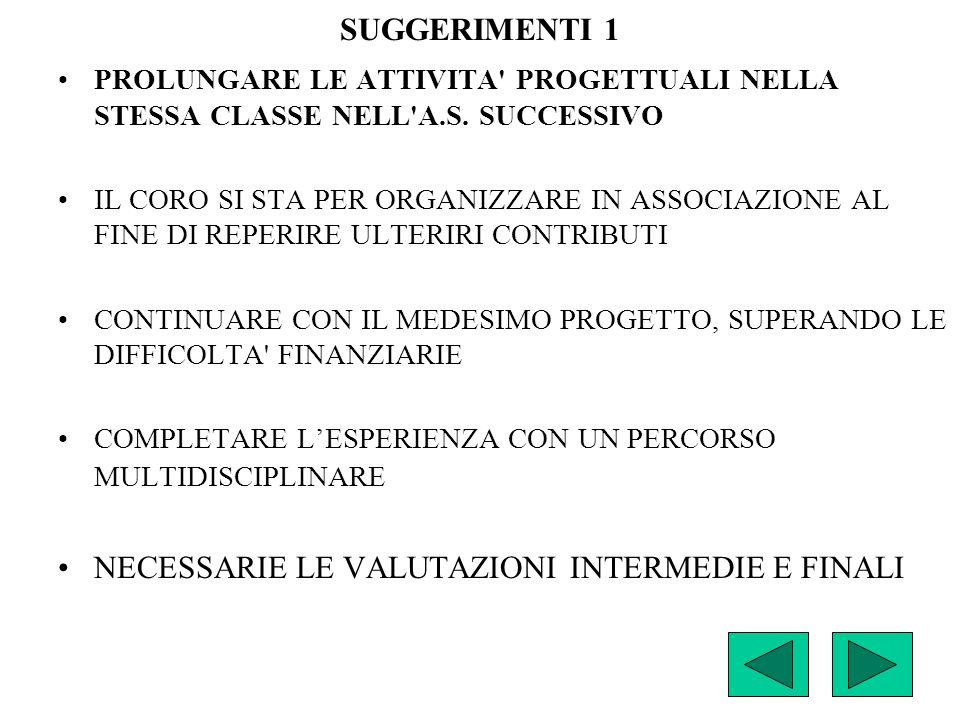 SUGGERIMENTI 1 PROLUNGARE LE ATTIVITA PROGETTUALI NELLA STESSA CLASSE NELL A.S.