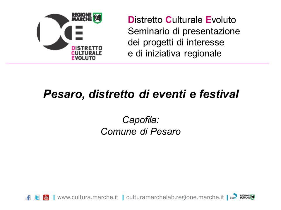 Distretto Culturale Evoluto Seminario di presentazione dei progetti di interesse e di iniziativa regionale Pesaro, distretto di eventi e festival Capo