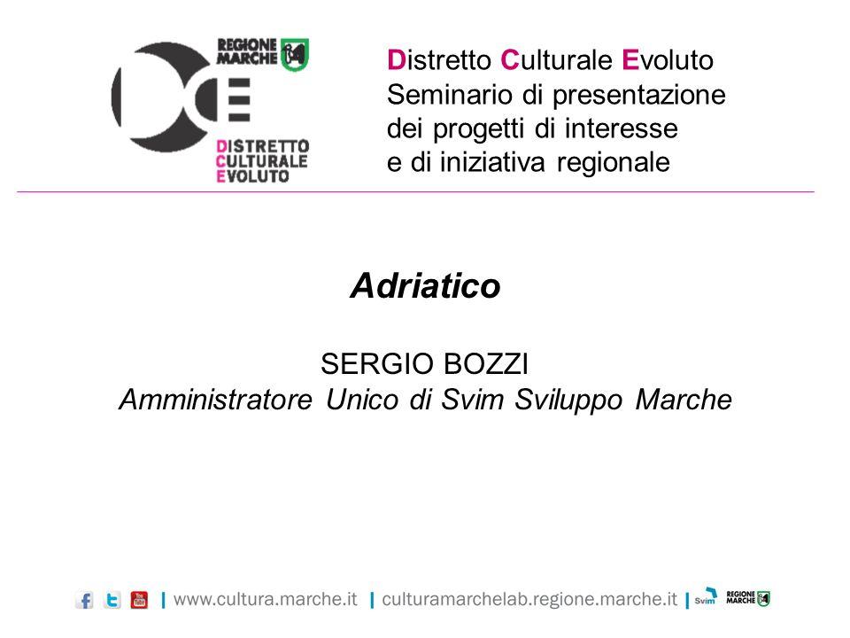 Distretto Culturale Evoluto Seminario di presentazione dei progetti di interesse e di iniziativa regionale Adriatico SERGIO BOZZI Amministratore Unico