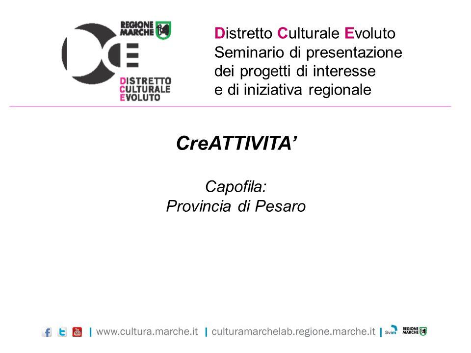 Distretto Culturale Evoluto Seminario di presentazione dei progetti di interesse e di iniziativa regionale CreATTIVITA Capofila: Provincia di Pesaro