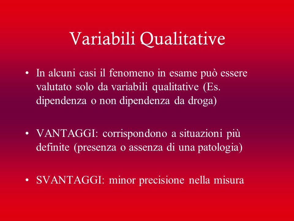 Variabili Qualitative In alcuni casi il fenomeno in esame può essere valutato solo da variabili qualitative (Es. dipendenza o non dipendenza da droga)