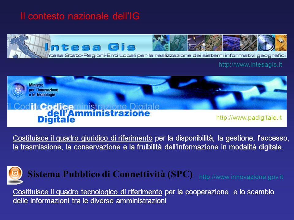 Il contesto nazionale dellIG http://www.intesagis.it Costituisce il quadro tecnologico di riferimento per la cooperazione e lo scambio delle informazi