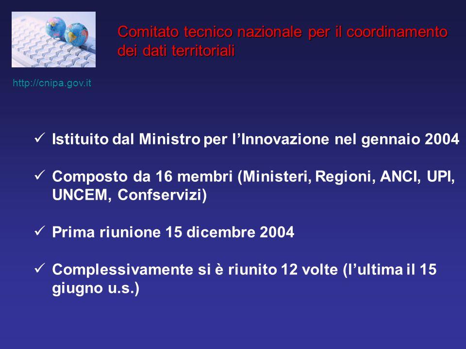 http://cnipa.gov.it Comitato tecnico nazionale per il coordinamento dei dati territoriali Istituito dal Ministro per lInnovazione nel gennaio 2004 Composto da 16 membri (Ministeri, Regioni, ANCI, UPI, UNCEM, Confservizi) Prima riunione 15 dicembre 2004 Complessivamente si è riunito 12 volte (lultima il 15 giugno u.s.)