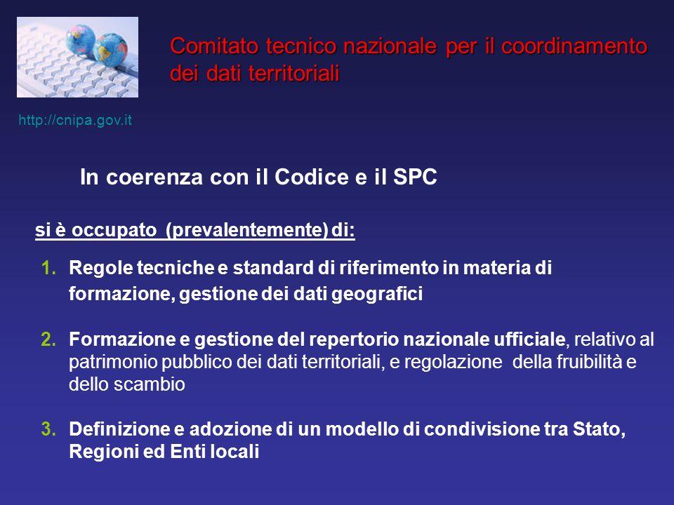 http://cnipa.gov.it Comitato tecnico nazionale per il coordinamento dei dati territoriali In coerenza con il Codice e il SPC si è occupato (prevalente