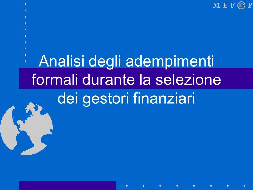 Analisi degli adempimenti formali durante la selezione dei gestori finanziari