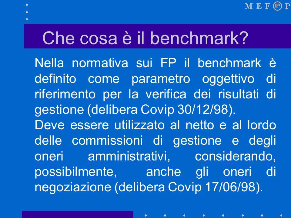 Definizione del benchmark Dalle precedenti scelte generali si deve passare alla selezione di un benchmark in grado di riassumerle in modo coerente.