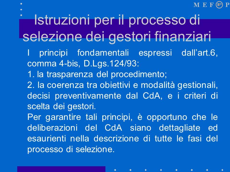 Istruzioni per il processo di selezione dei gestori finanziari I principi fondamentali espressi dallart.6, comma 4-bis, D.Lgs.124/93: 1.