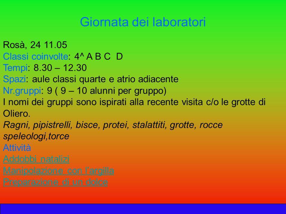 Giornata dei laboratori Rosà, 24 11.05 Classi coinvolte: 4^ A B C D Tempi: 8.30 – 12.30 Spazi: aule classi quarte e atrio adiacente Nr.gruppi: 9 ( 9 –