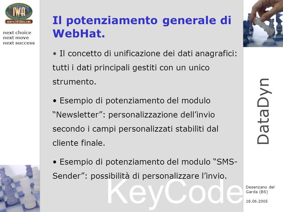 KeyCode next choice next move next success Desenzano del Garda (BS) 18.06.2005 DataDyn Il potenziamento generale di WebHat. Il concetto di unificazion