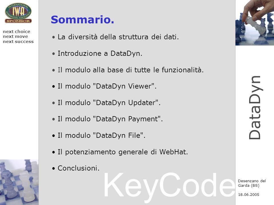 KeyCode next choice next move next success Desenzano del Garda (BS) 18.06.2005 DataDyn Sommario. La diversità della struttura dei dati. Introduzione a