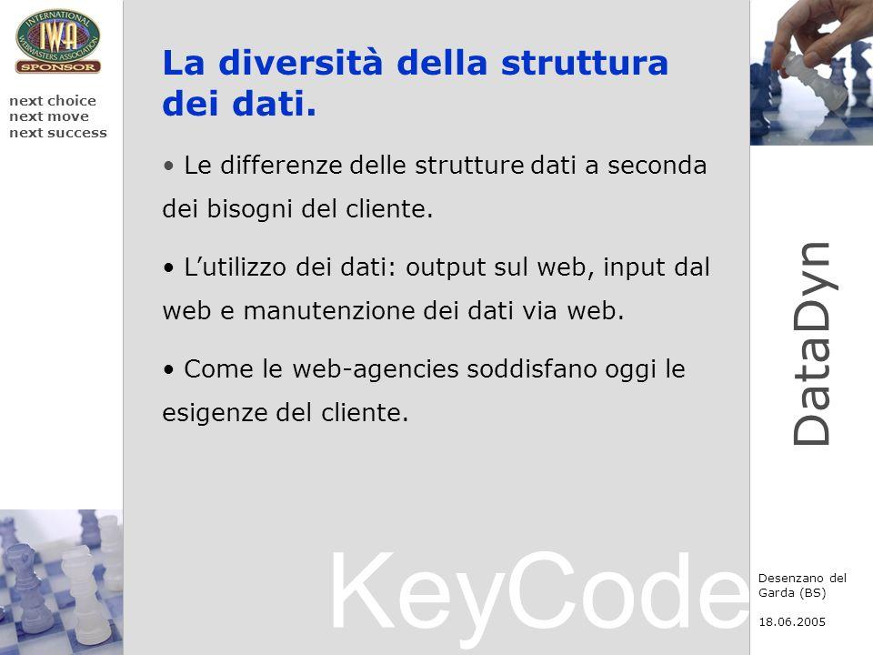 KeyCode next choice next move next success Desenzano del Garda (BS) 18.06.2005 DataDyn La diversità della struttura dei dati. Le differenze delle stru