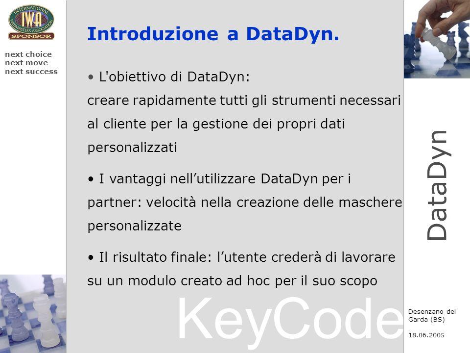 KeyCode next choice next move next success Desenzano del Garda (BS) 18.06.2005 DataDyn Introduzione a DataDyn. L'obiettivo di DataDyn: creare rapidame