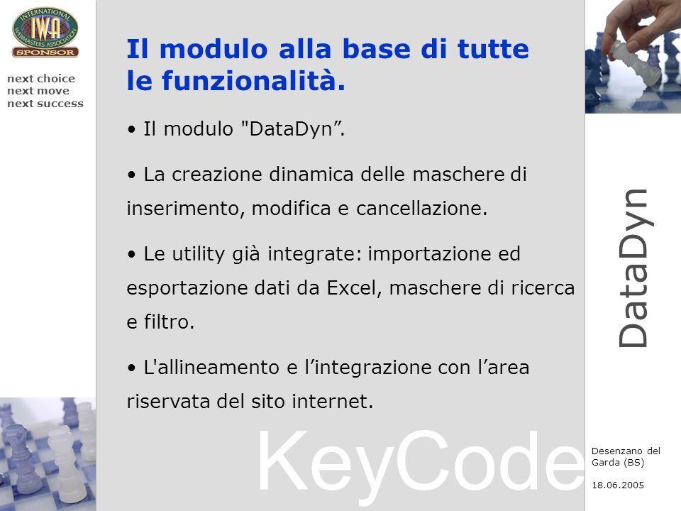 KeyCode next choice next move next success Desenzano del Garda (BS) 18.06.2005 DataDyn Il modulo alla base di tutte le funzionalità. Il modulo