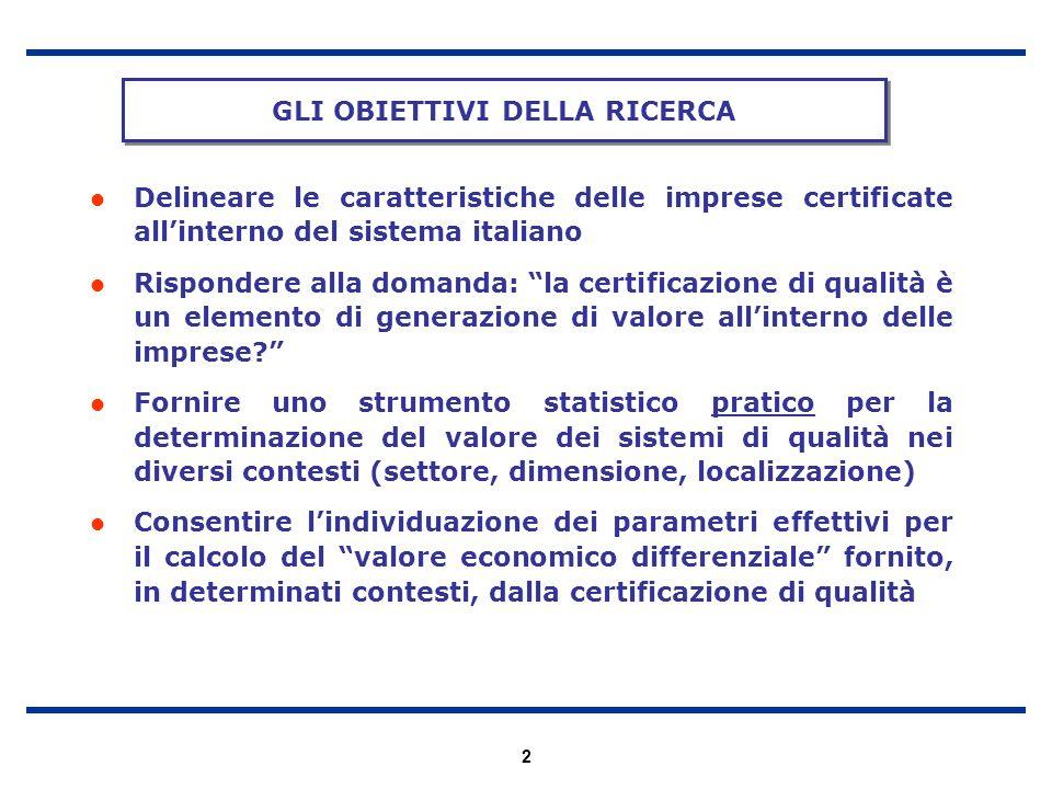 2 Delineare le caratteristiche delle imprese certificate allinterno del sistema italiano Rispondere alla domanda: la certificazione di qualità è un el
