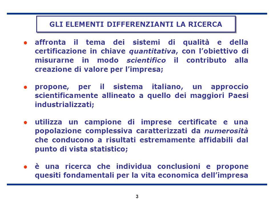 3 affronta il tema dei sistemi di qualità e della certificazione in chiave quantitativa, con lobiettivo di misurarne in modo scientifico il contributo