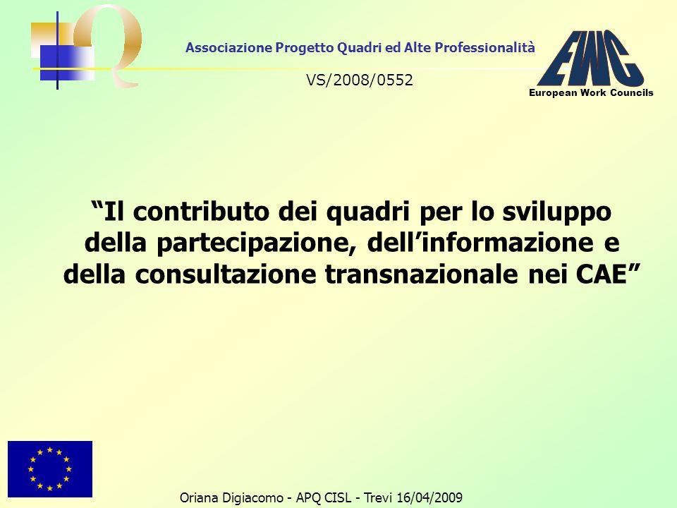 Associazione Progetto Quadri ed Alte Professionalità VS/2008/0552 Oriana Digiacomo - APQ CISL - Trevi 16/04/2009 European Work Councils Il contributo dei quadri per lo sviluppo della partecipazione, dellinformazione e della consultazione transnazionale nei CAE