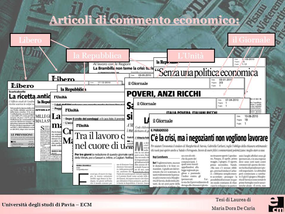 Università degli studi di Pavia – ECM Tesi di Laurea di Maria Dora De Caria Articoli di commento economico: Articoli di commento economico: Libero la Repubblica LUnità il Giornale