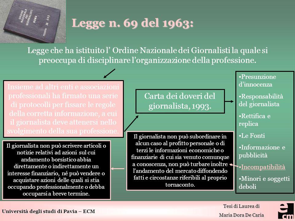 Università degli studi di Pavia – ECM Tesi di Laurea di Maria Dora De Caria Legge n.