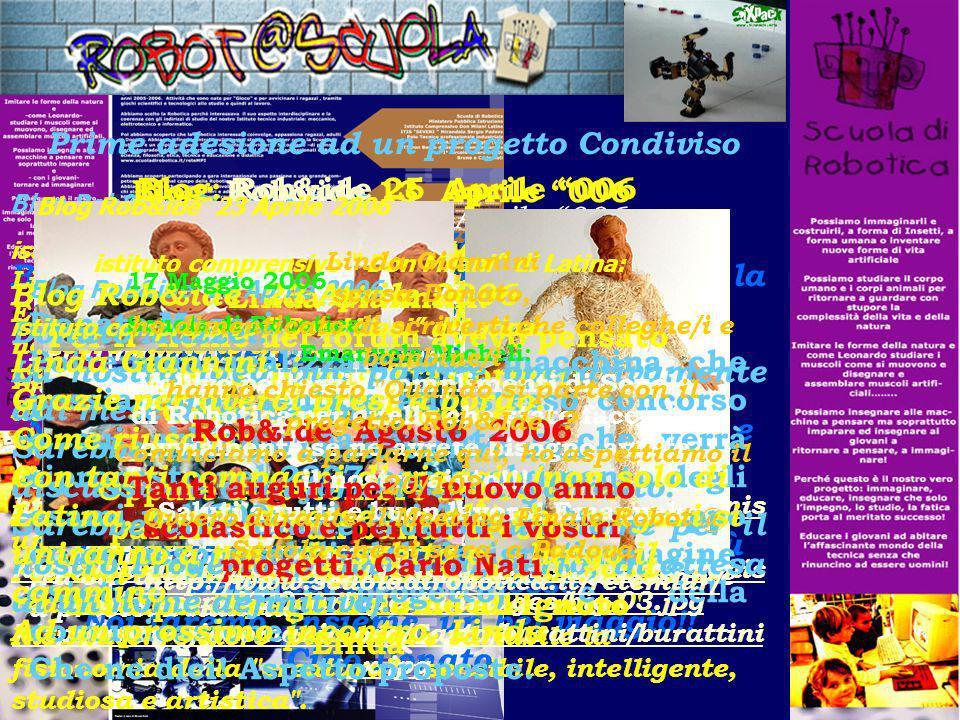 Prime adesione ad un progetto Condiviso La Scuola elementare Nino Costa Pinerolo: Donatella Merlo : noi saremmo interessati a sviluppare il discorso s