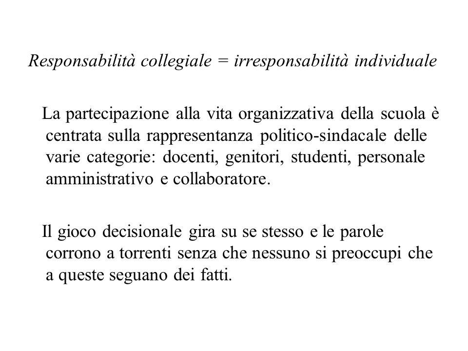 Responsabilità collegiale = irresponsabilità individuale La partecipazione alla vita organizzativa della scuola è centrata sulla rappresentanza politico-sindacale delle varie categorie: docenti, genitori, studenti, personale amministrativo e collaboratore.