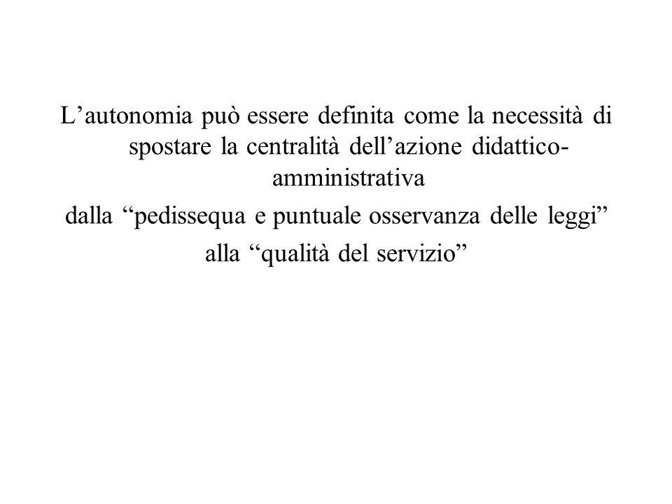 Lautonomia può essere definita come la necessità di spostare la centralità dellazione didattico- amministrativa dalla pedissequa e puntuale osservanza delle leggi alla qualità del servizio