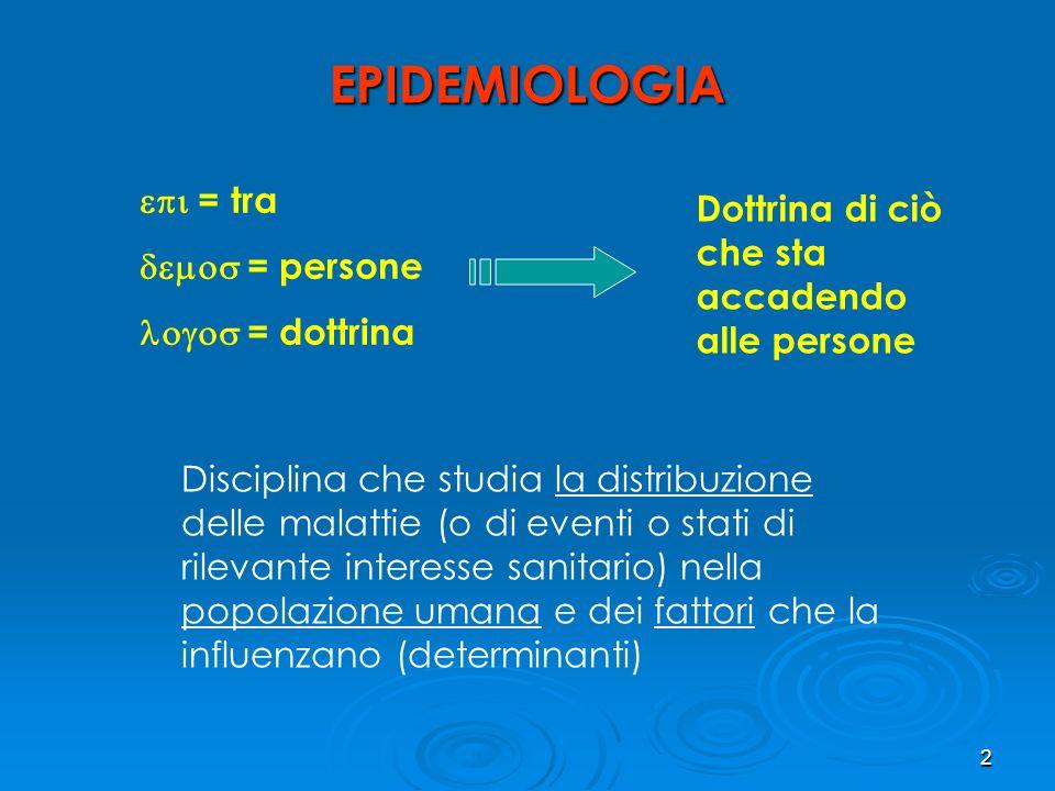 2 EPIDEMIOLOGIA = tra = persone = dottrina Dottrina di ciò che sta accadendo alle persone Disciplina che studia la distribuzione delle malattie (o di eventi o stati di rilevante interesse sanitario) nella popolazione umana e dei fattori che la influenzano (determinanti)