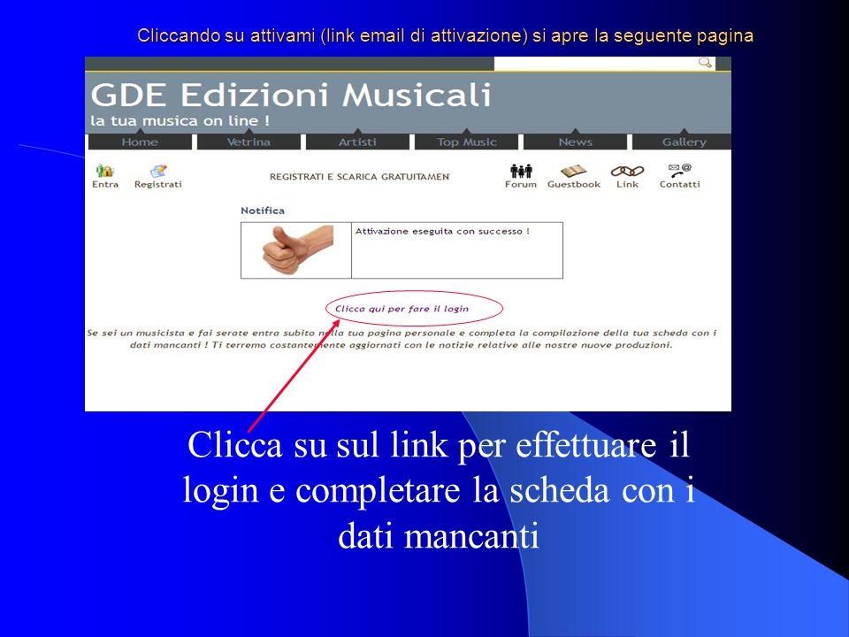 Cliccando su attivami (link email di attivazione) si apre la seguente pagina Clicca su sul link per effettuare il login e completare la scheda con i dati mancanti
