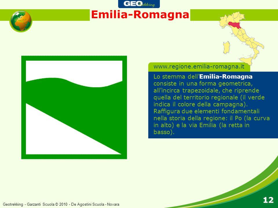 Emilia-Romagna 12 Lo stemma dellEmilia-Romagna consiste in una forma geometrica, allincirca trapezoidale, che riprende quella del territorio regionale