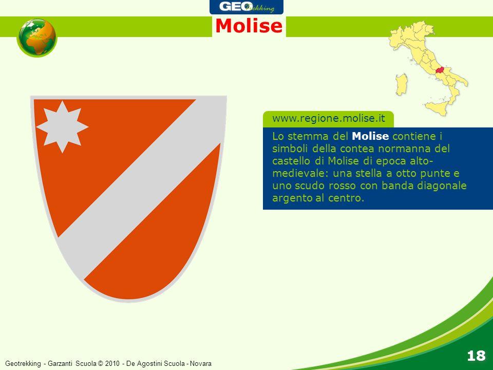 Molise 18 Lo stemma del Molise contiene i simboli della contea normanna del castello di Molise di epoca alto- medievale: una stella a otto punte e uno