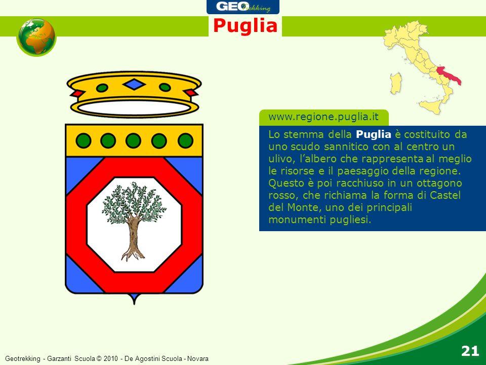 Puglia 21 Lo stemma della Puglia è costituito da uno scudo sannitico con al centro un ulivo, lalbero che rappresenta al meglio le risorse e il paesagg