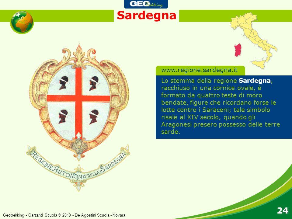Sardegna 24 Lo stemma della regione Sardegna, racchiuso in una cornice ovale, è formato da quattro teste di moro bendate, figure che ricordano forse l