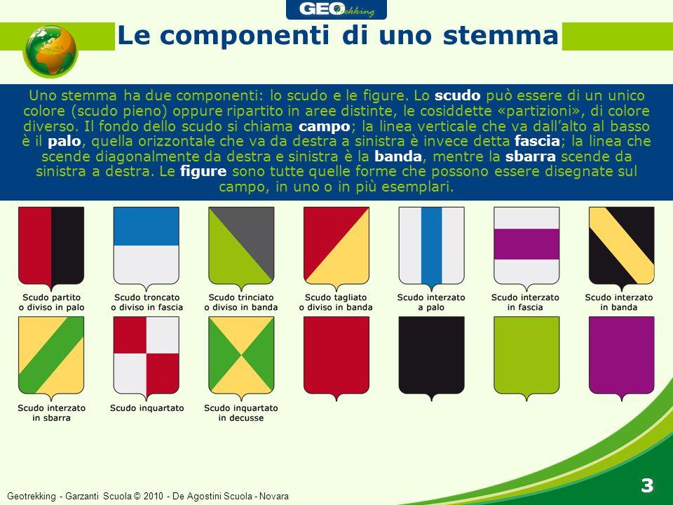 Uno stemma ha due componenti: lo scudo e le figure. Lo scudo può essere di un unico colore (scudo pieno) oppure ripartito in aree distinte, le cosidde
