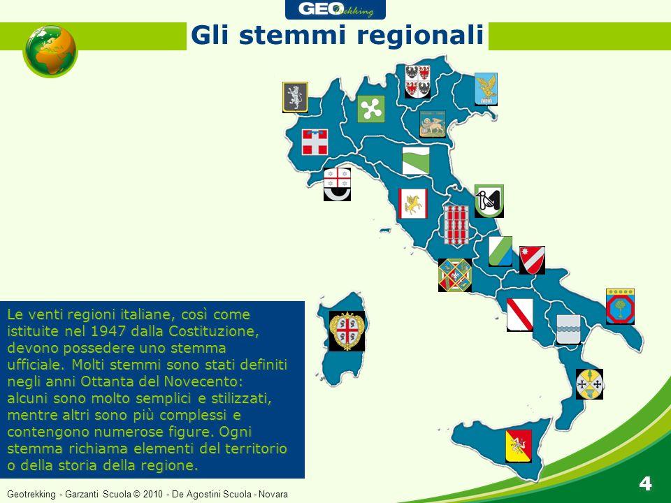 Gli stemmi regionali Le venti regioni italiane, così come istituite nel 1947 dalla Costituzione, devono possedere uno stemma ufficiale. Molti stemmi s