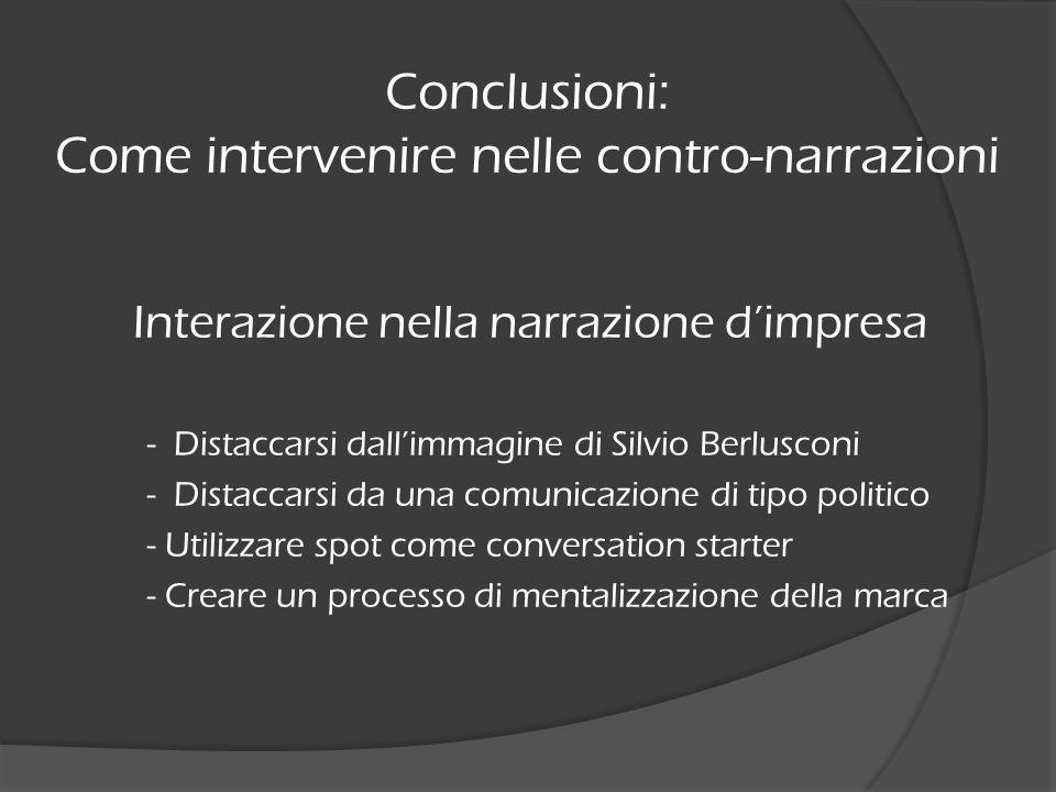 Interazione nella narrazione dimpresa - Distaccarsi dallimmagine di Silvio Berlusconi - Distaccarsi da una comunicazione di tipo politico - Utilizzare