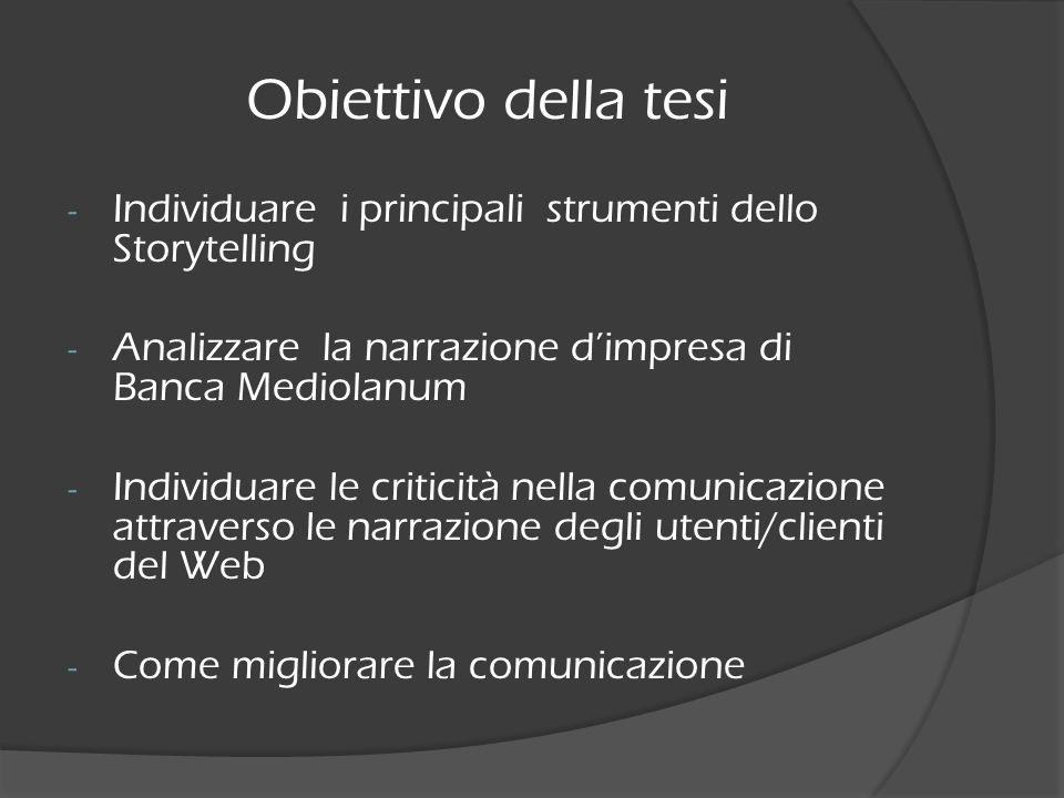 Obiettivo della tesi - Individuare i principali strumenti dello Storytelling - Analizzare la narrazione dimpresa di Banca Mediolanum - Individuare le