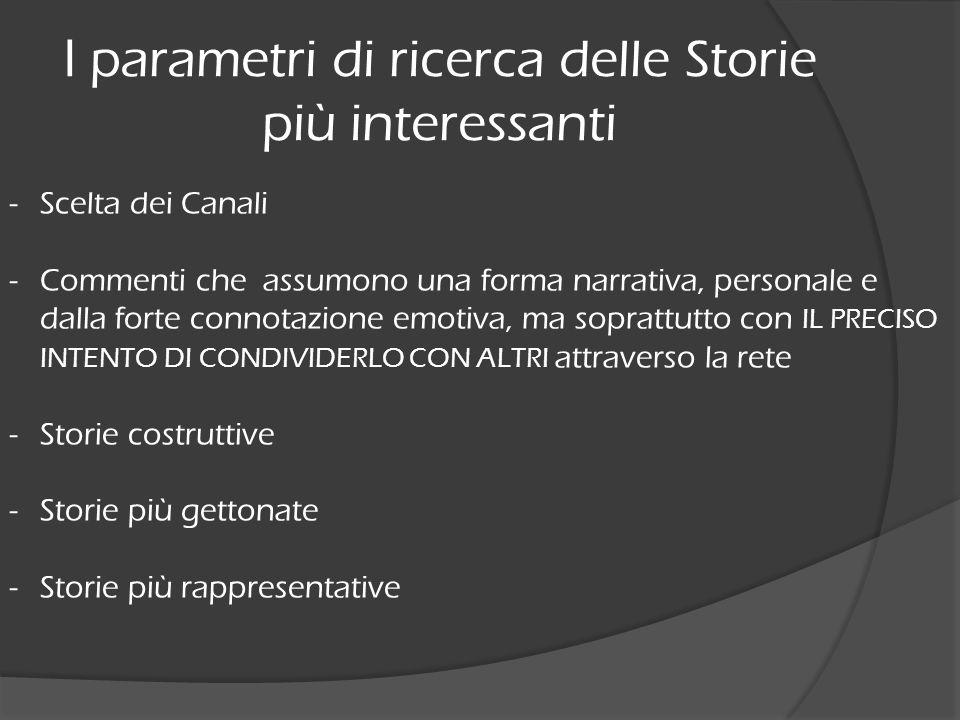 I parametri di ricerca delle Storie più interessanti -Scelta dei Canali -Commenti che assumono una forma narrativa, personale e dalla forte connotazio
