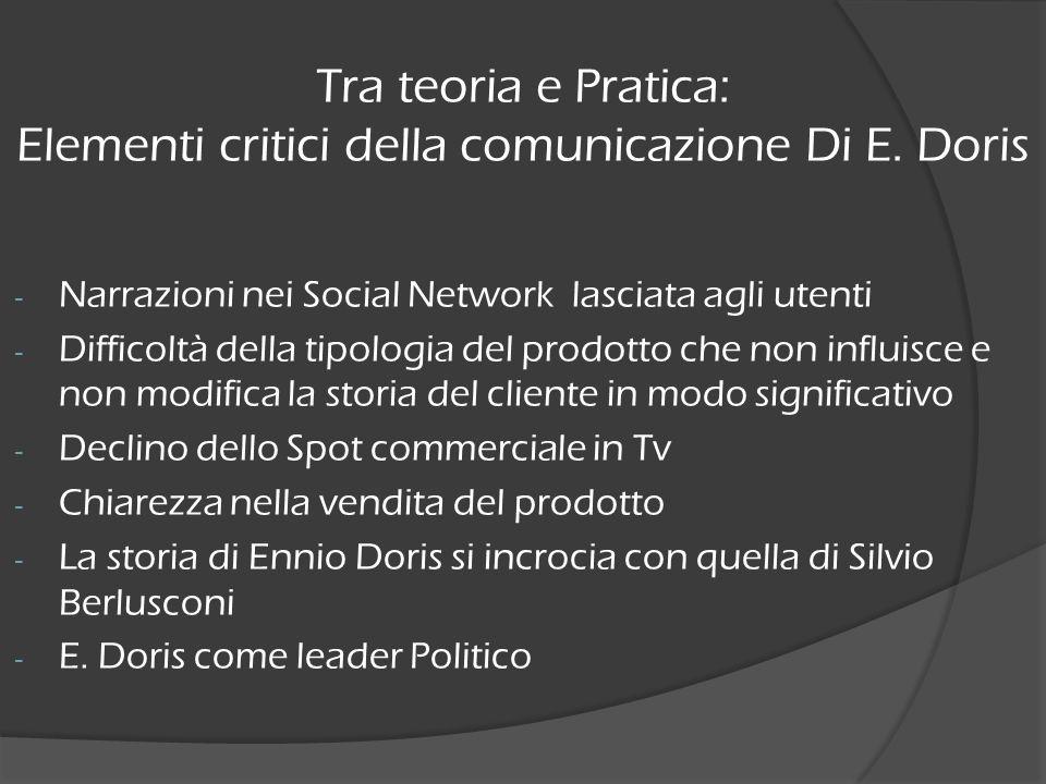 - Narrazioni nei Social Network lasciata agli utenti - Difficoltà della tipologia del prodotto che non influisce e non modifica la storia del cliente