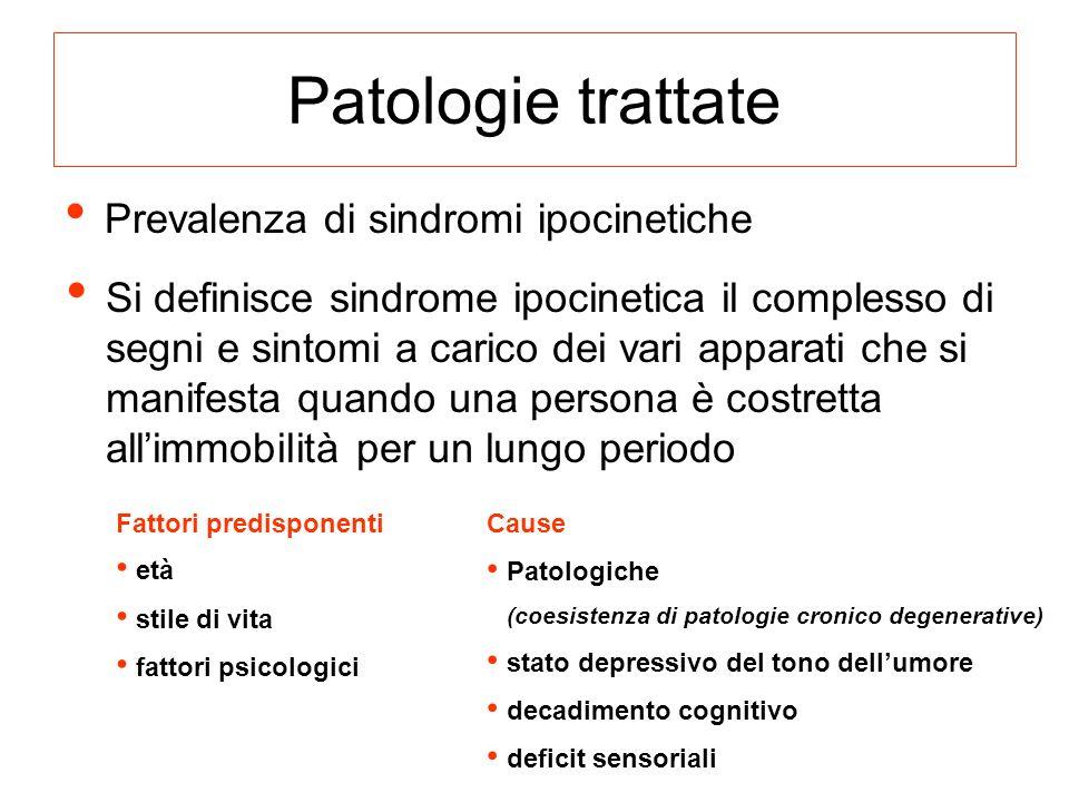 Prevalenza di sindromi ipocinetiche Si definisce sindrome ipocinetica il complesso di segni e sintomi a carico dei vari apparati che si manifesta quan