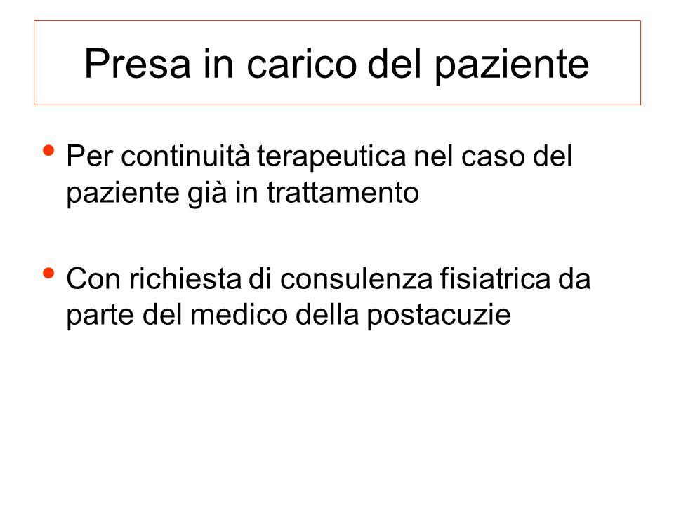 Presa in carico del paziente Per continuità terapeutica nel caso del paziente già in trattamento Con richiesta di consulenza fisiatrica da parte del m