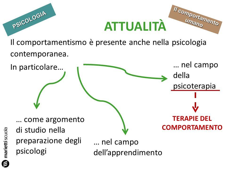 PSICOLOGIA Il comportamento umano ATTUALITÀ Il comportamentismo è presente anche nella psicologia contemporanea.