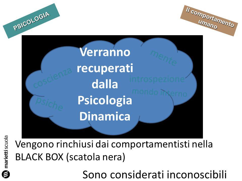 PSICOLOGIA Il comportamento umano Sono considerati inconoscibili Vengono rinchiusi dai comportamentisti nella BLACK BOX (scatola nera) Verranno recupe