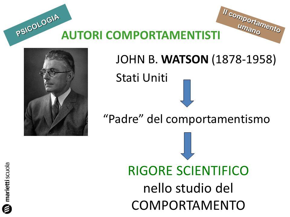 PSICOLOGIA Il comportamento umano AUTORI COMPORTAMENTISTI JOHN B. WATSON (1878-1958) Stati Uniti Padre del comportamentismo RIGORE SCIENTIFICO nello s