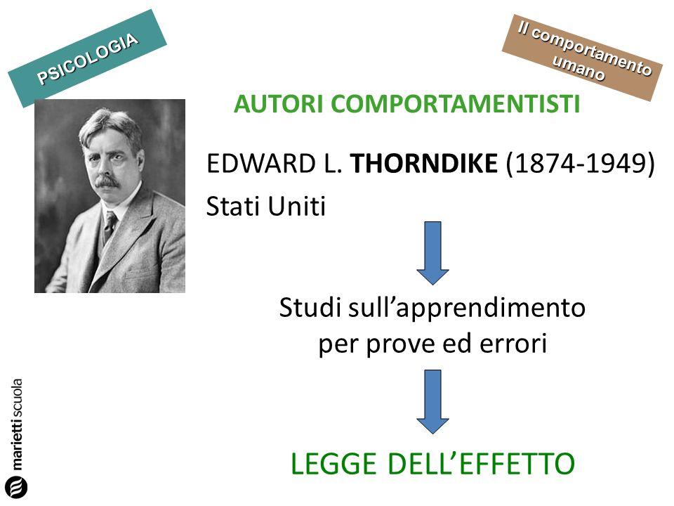 PSICOLOGIA Il comportamento umano AUTORI COMPORTAMENTISTI EDWARD L. THORNDIKE (1874-1949) Stati Uniti Studi sullapprendimento per prove ed errori LEGG