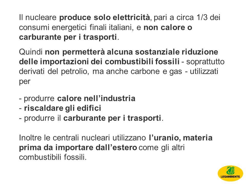 Il nucleare produce solo elettricità, pari a circa 1/3 dei consumi energetici finali italiani, e non calore o carburante per i trasporti.